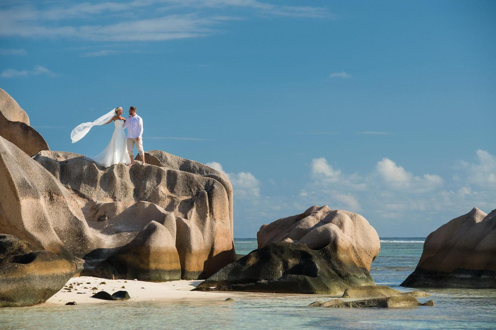 Anse Source d'Argent, Hochzeitsfotograf, Seychellen, La Digue, Hochzeit, Brautpaarshooting